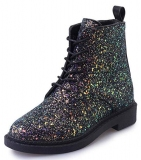 Black Glitter Combat Ankle Boots