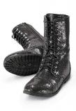 Black Glitter Combat Boot