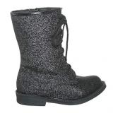 Black Glitter Combat Boots for Girls