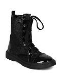 Black Glitter Combat Boots for Women
