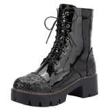 Combat Boots Black Glitter