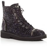 Glitter Black Combat Boots