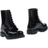 Glitter Combat Boots Black