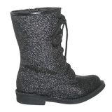 Black Glitter Combat Boots for Girls