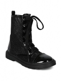 Black Glitter Combat Boots for Women