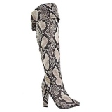 Black Snakeskin Knee High Boots