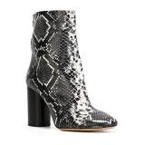 Block Heel Black Snakeskin Boots