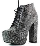 Lace Up Black Snakeskin Boots