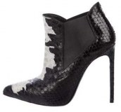 Snakeskin Ankle Boots In Black