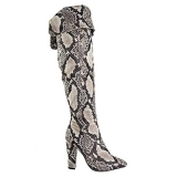 Black Snakeskin Knee High Boots