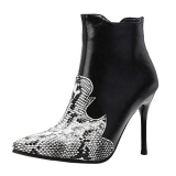 Pointed Toe Black Snakeskin Boots