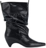Wide Calf Black Snakeskin Boots