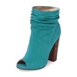 Blue Block Heel Boots For Women