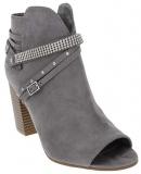 Grey Block Heel Peep Toe Booties