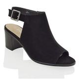 Low Block Heel Peep Toe Boots