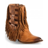 Fringed Cowgirl Boots Round Toe