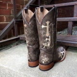 Cowgirl Boots with Crosses Embroidery