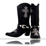 Cowgirl Boots with Crosses and Rhinestones