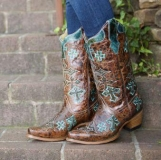 Cowgirl Boots with Turquoise Crosses
