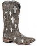 Square Toe Cowgirl Boots with Cross