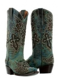 Teal Cowgirl Boots with Crosses