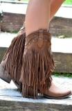 Fringe Cowgirl Ankle Boots