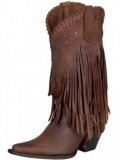 Leather Fringe Cowgirl Boots