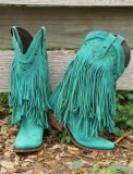 Turquoise Fringe Cowgirl Boots