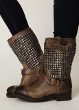 Dark Brown Cute Combat Boots