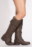 Dark Brown Knee High Combat Boots