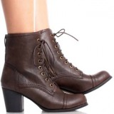 Dark Brown Lace Up Combat Boots