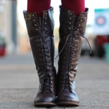 Tall Dark Brown Combat Boots