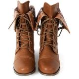 Cute Dark Brown Combat Boots