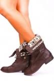 Dark Brown Combat Boots Fold Over