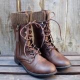 Dark Brown Combat Boots Women