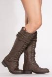 Dark Brown Knee High Combat Boots