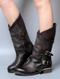 Dark Brown Leather Combat Boots
