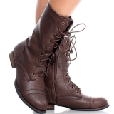 Womens Dark Brown Combat Boots