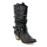Distressed Pull On Riding Boots