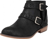 Women Distressed Black Ankle Booties