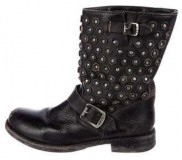 Women's Black Distressed Biker Boots