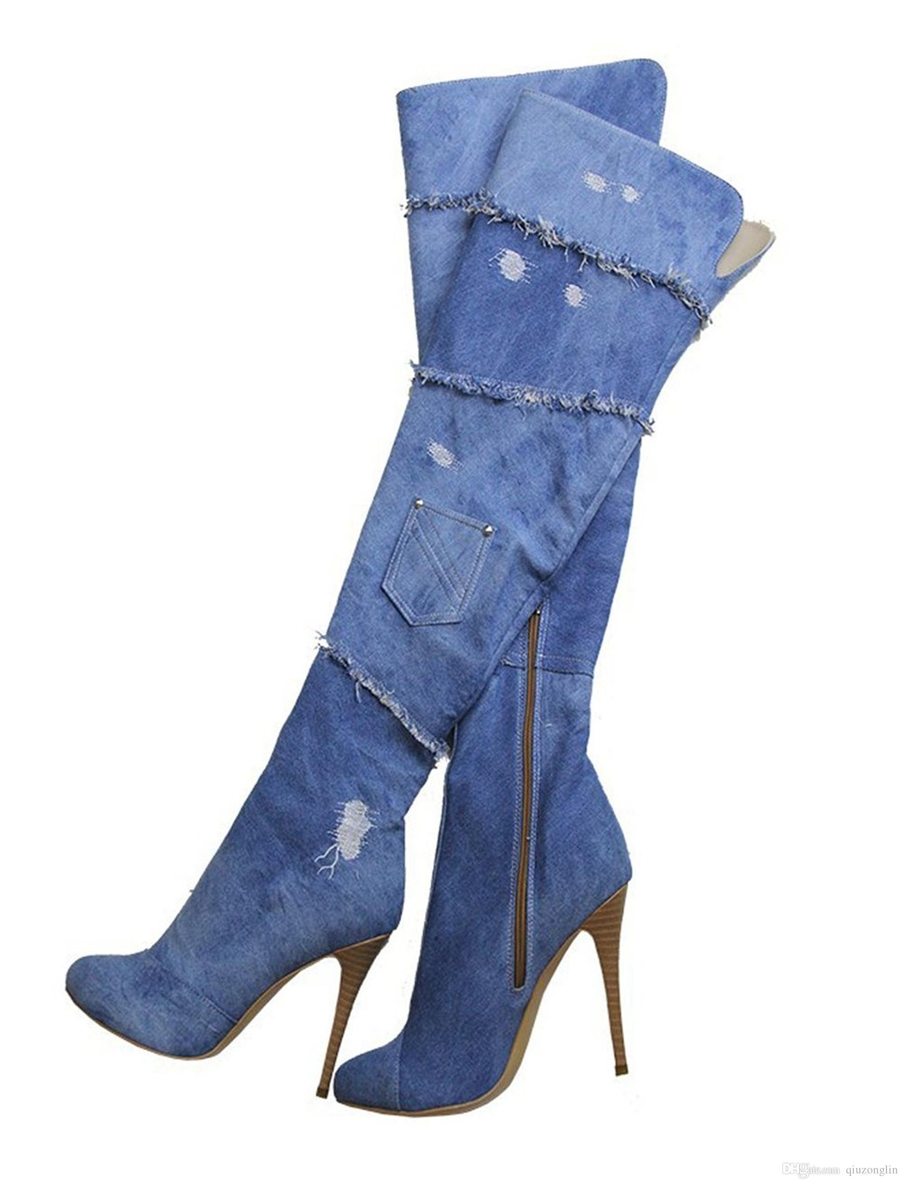 b8086d7faf2 Denim Thigh High Boots - Online Boots