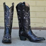 Black Embroidered Cowgirl Boots