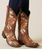 Brown Embroidered Cowgirl Boot