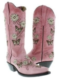 Butterfly Embroidered Cowgirl Boots