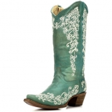 Corral Bone floral Embroidered Cowgirl Boots