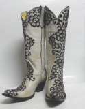 Lace Embroidered Cowgirl Boots