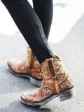 Short Floral Embroidered Cowgirl Boots