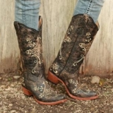 Womens Brown Embroidered Cowgirl Boots