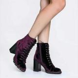 Burgundy Heeled Combat Boots